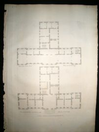 Vitruvius Britannicus C1720 Architectural Plan Stainborough Wentworth Yorkshire